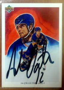 HOF'er ADAM OATES autographed signed 91-92 Upper Deck card Capitals Bruins Blues