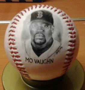 MO VAUGHN Boston Red Sox fotoball baseball 1996 Fenway Park giveaway