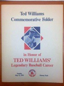 1991 Fenway Park Ted Williams Commemorative Folder Boston Red Sox 2