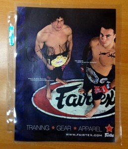 UFC Strikeforce Champ Gilbert Melendez & Jake Shields auto signed Fairtex ad MMA