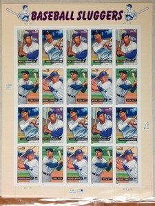 BASEBALL SLUGGERS Mantle Greenberg Ott Campanella stamp sheet $7.80 face value