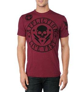 NWT AFFLICTION Divio Shockwave tee shirt red mens XL UFC MMA