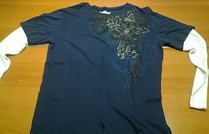 MMA ELITE blue/white long sleeve tee shirt mens XL UFC