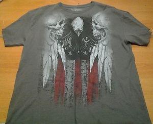 MMA ELITE dark gray grey USA Skulls tee shirt mens Large UFC