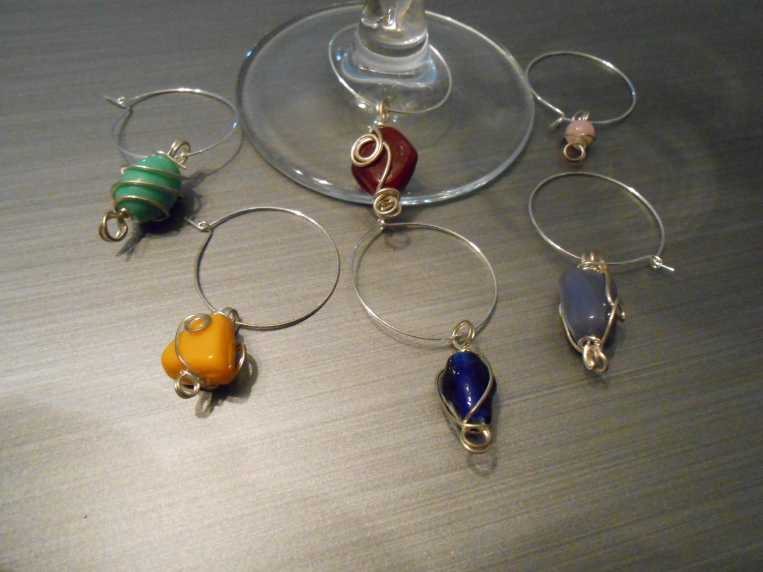 Polished Stones Wine Glass Charms