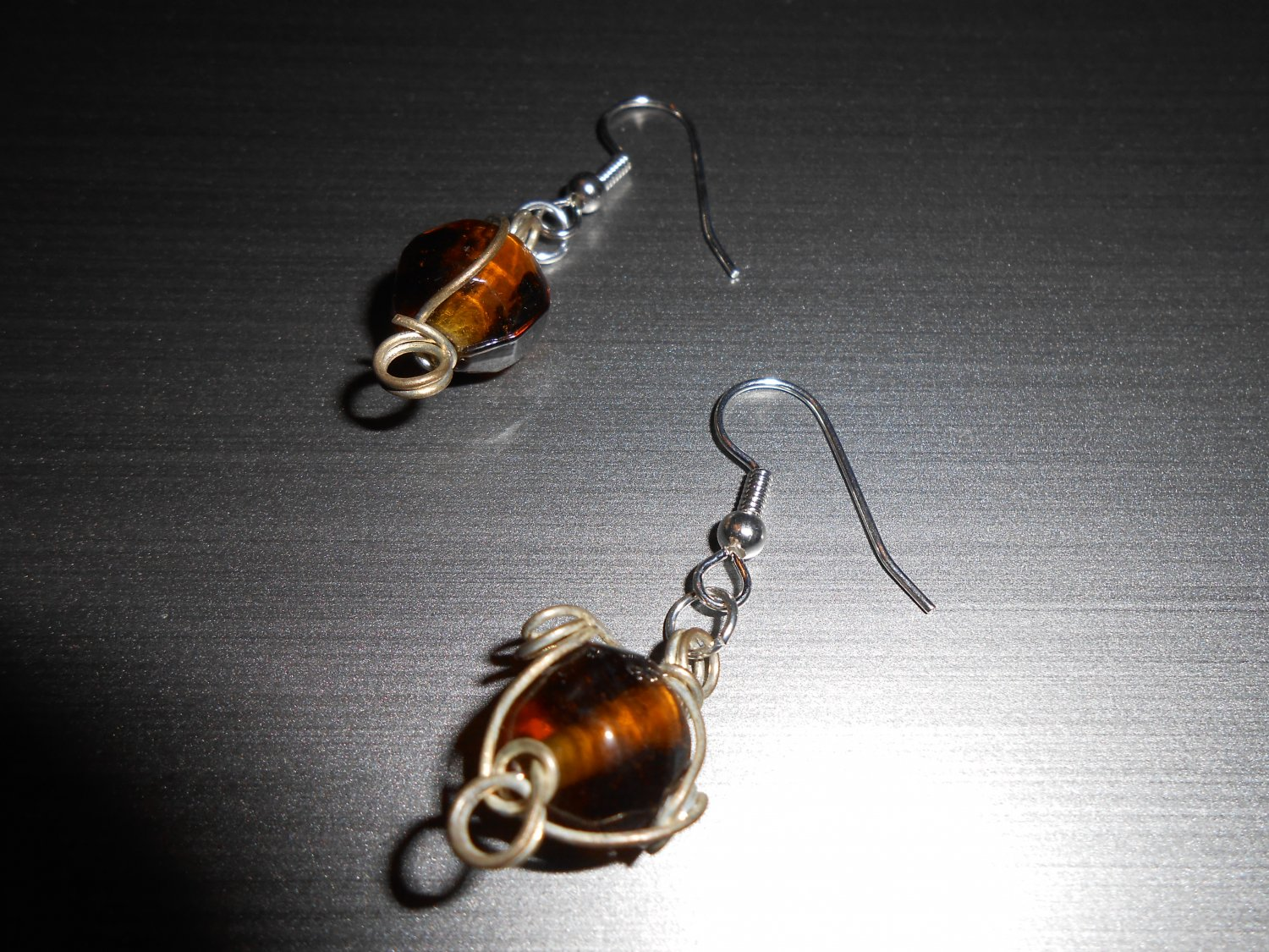 Wire Wrapped Brown Glass Drop Earrings