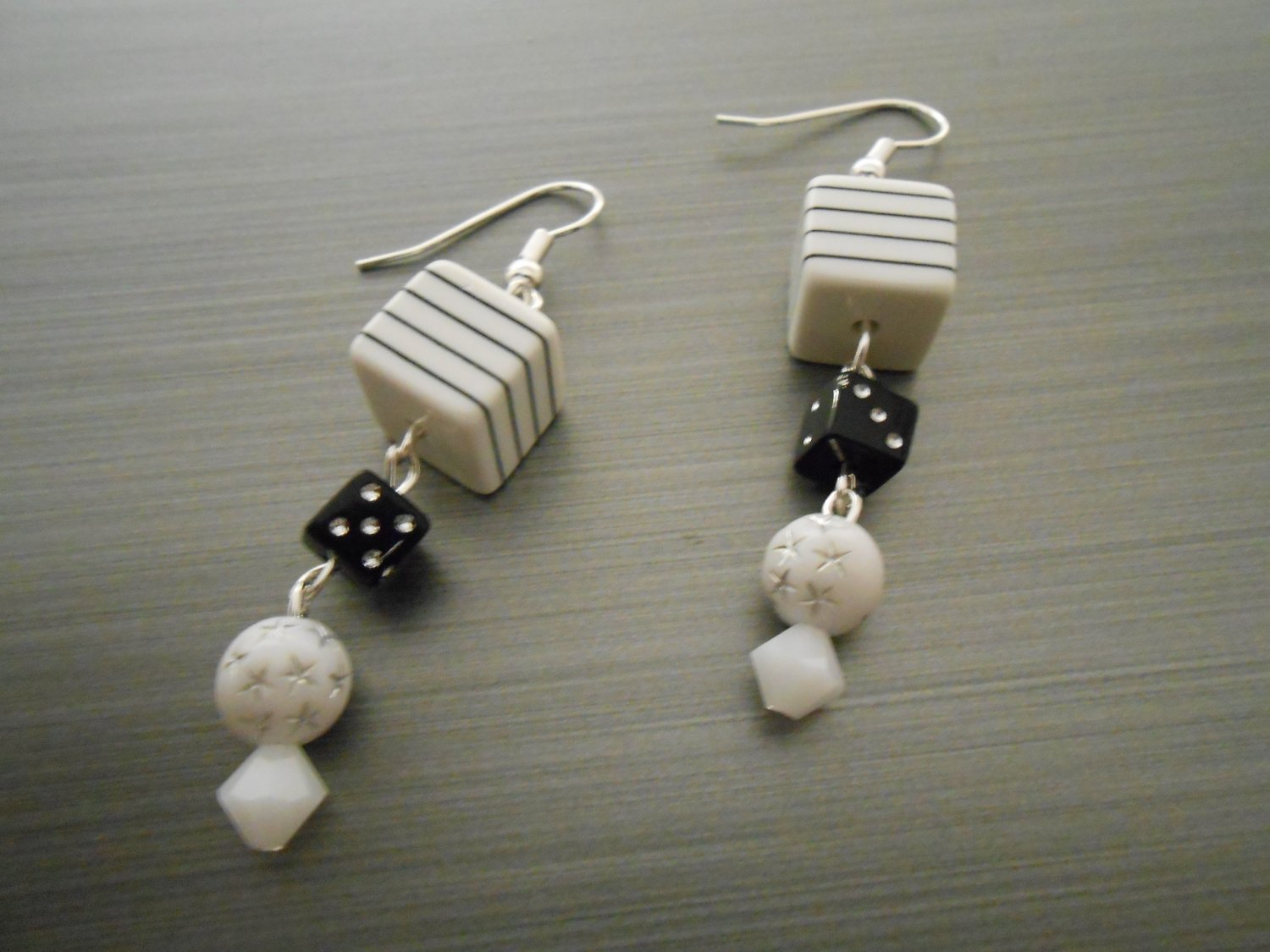 Black and White Earrings with Small Dice