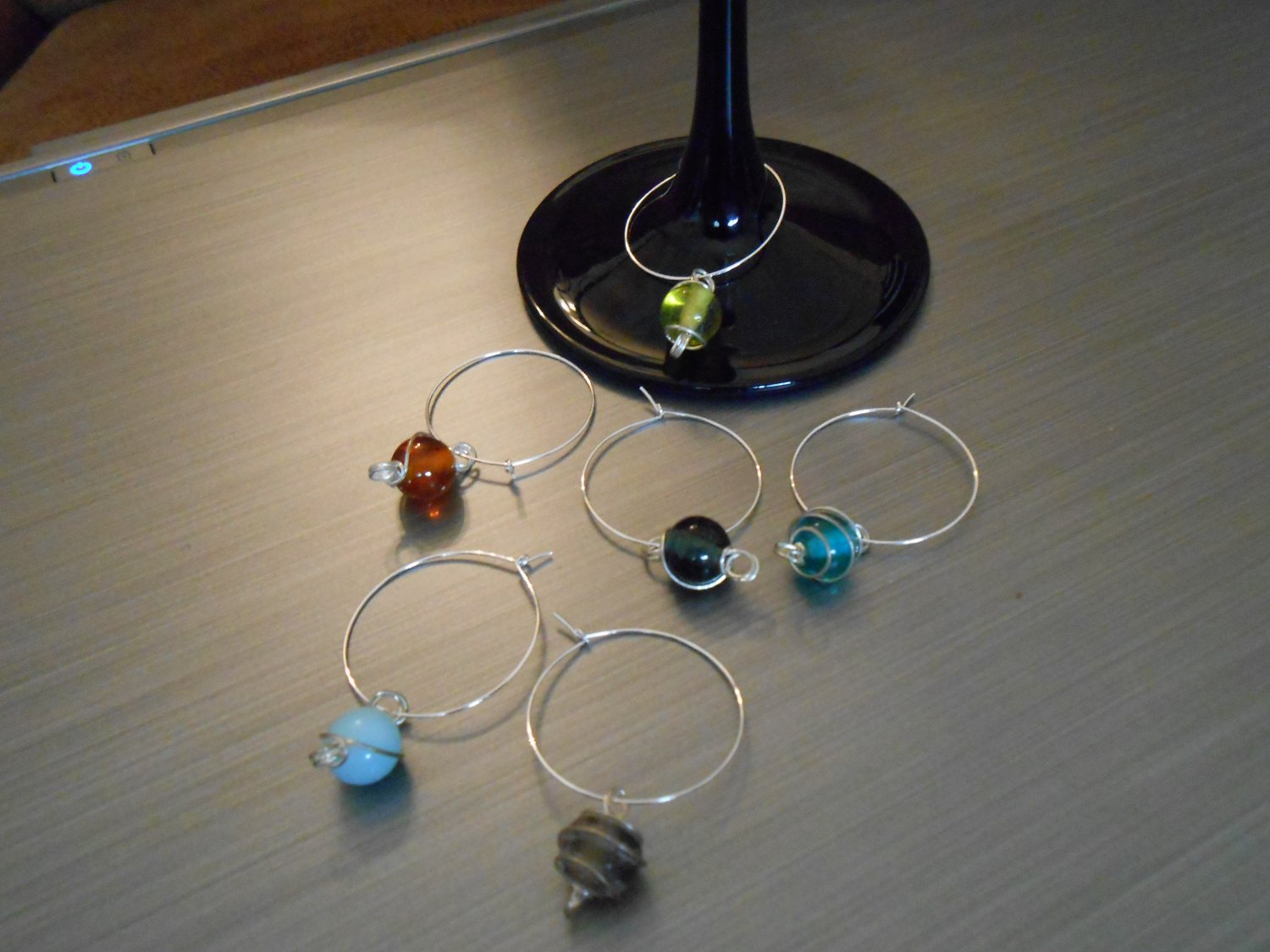 Polished Stone Wine Glass Charms
