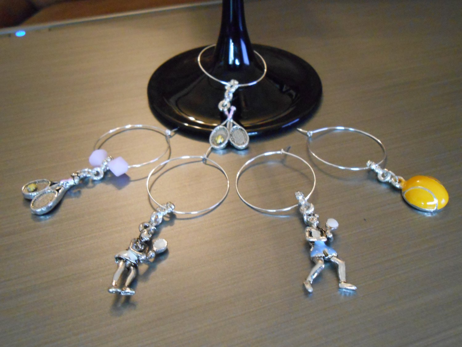 Tennis Wine Glass Charm Set