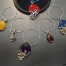 Football Wine Glass Charm Set