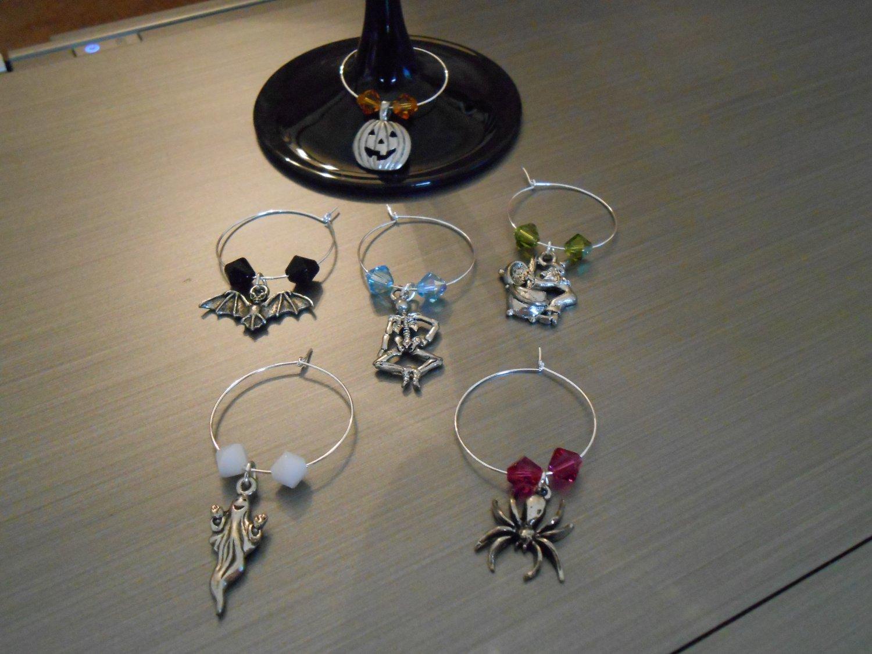 Halloween Wine Glass Charm Set