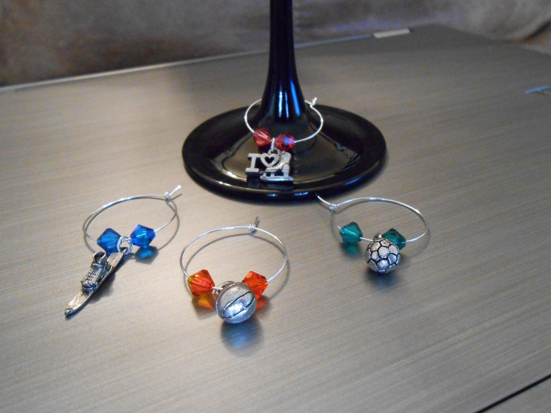 Various Sports Wine Glass Charm Set