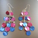 Pink and Blue Chandelier Earrings