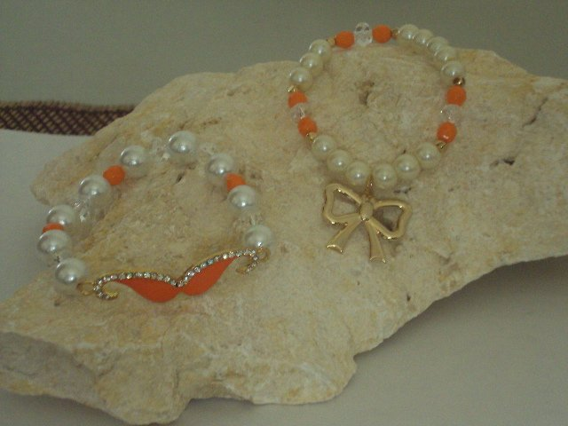 White Bracelet with Charm Mustache