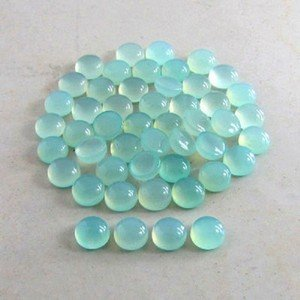 Certified  AAA Quality 10 Pieces Natural Aqua Chalcedony 10 mm Round Cabochon