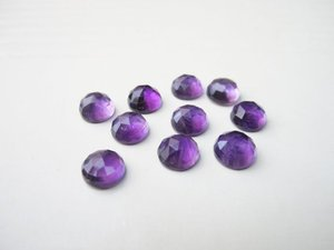 Certified  Lot of 15 Pieces AAA Amethyst 8 M.M. Round Loose  Rose Cut Cabochon