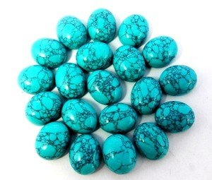 Certified Lot of 25 Pieces AAA Quality Synthetic Turquoise 8x10 m.m. Oval Cabochon
