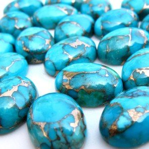 Cartified  Lot Of 10 Pieces Blue Copper Turquoise Cabochons 7*9 M.M.Oval Loose calibrated