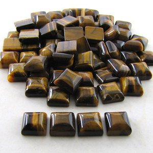 Certified  Lot of 25 Pieces AAA QualityTiger Eye 8x8 m.m. Square Cabochon