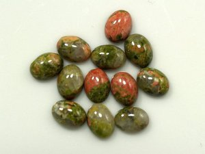 Certified Lot of 25 Pieces AAA Quality Unakite 8x10 M.M. Oval Cabochon Calibarated