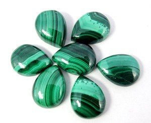 Certified Lot of 25 Pieces AAA Quality Malachite 7x10 m.m. Pear Cabochon