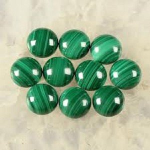 Certified AAA Quality 25 Pieces Natural Malachite Cabochon 14 MM Round Loose Gemstones