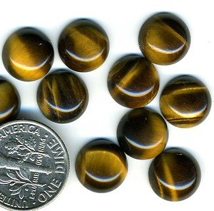 Certified Lot of 25 Pieces AAA Quality Yellow Tiger Eye 14 m.m. Round Cabochon