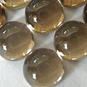Certified Lot of 25 Pieces AAA Quality Smoky Quartz 14x14 m.m. Round Cabochon