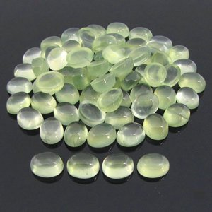 Cartified Lot of 25 Pieces AAA Quality Prehnite 6x8 m.m. Oval Cabochon