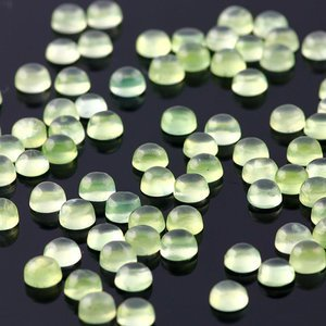 Cartified Lot of 25 Pieces AAA Quality Prehnite 14x14 m.m. Round Cabochon