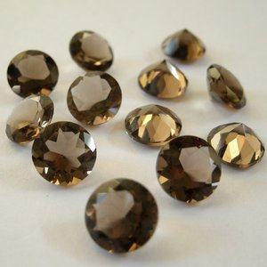 Certified Lot of 15 Pieces AAA Quality Smoky Quartz 13x13 m.m. Round Cut Stone