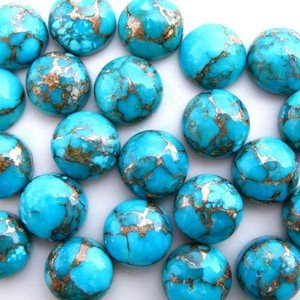 Certified 25 Pieces Lot AAA Quality Blue Copper Turquoise 7x7 mm Round Cabochon