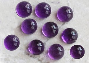 Certified Lot of 15 Pieces AAA Quality Amethyst 9x9 m.m. Round Cabochon Calibarated
