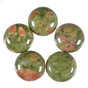 Certified Lot of 25 Pieces AAA Quality Unakite 15x15 M.M. Round Cabochon Calibarated
