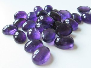 Certified Lot of 10 pieces AAA Amethyst Loose cabochons 7*9 M.M.Oval Calibarated