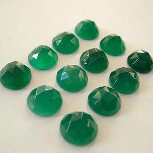 Certified Lot of 15 Pieces Green Onyx Gemstones 11x11 M.M. Round Loose Rose Cut Calibrated