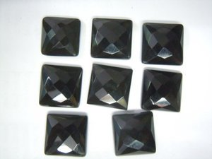 Certified Lot of 25 Pieces AAA Quality Black Onyx 9x9 m.m. Square Checker cut