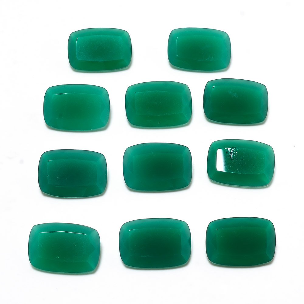 Certified Green Onyx AAA Quality 9x11 mm Faceted Cushion 11 pcs