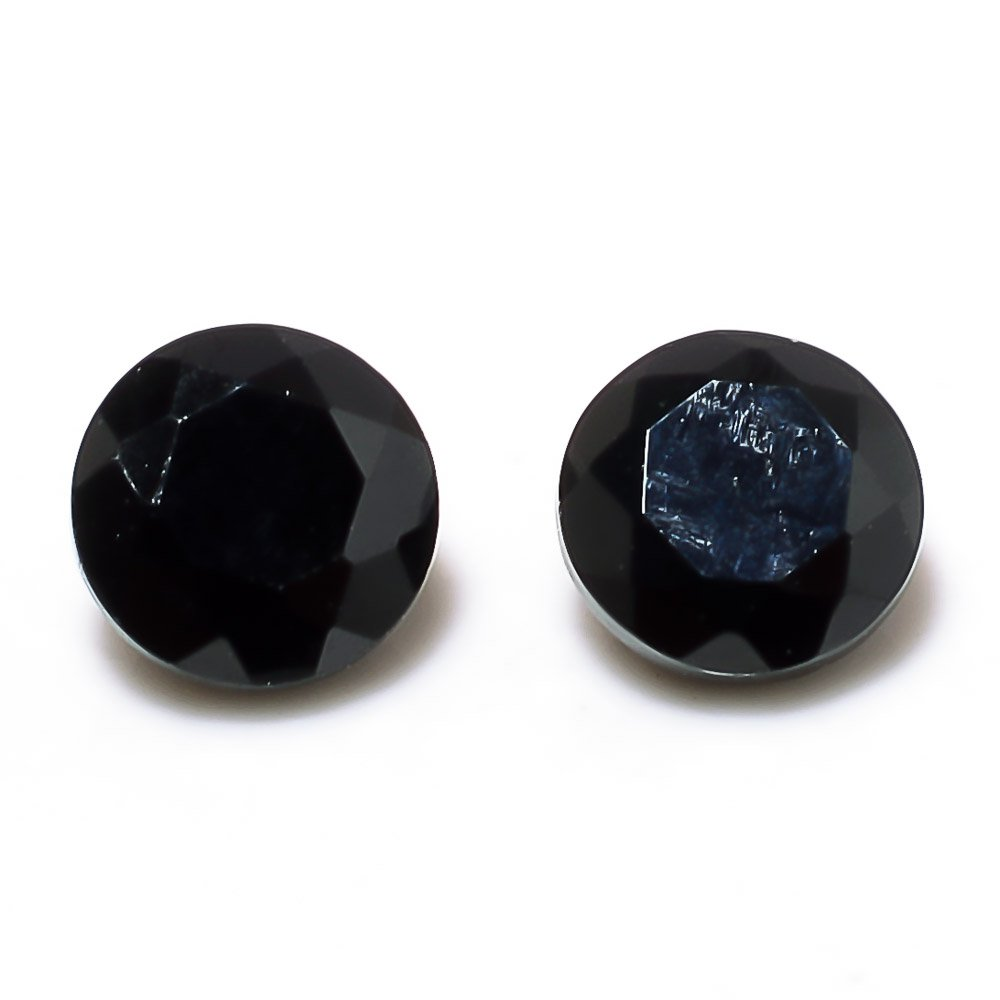 Certified Natural Black Spinel AAA Quality 7 mm Faceted Round 5 pcs lot