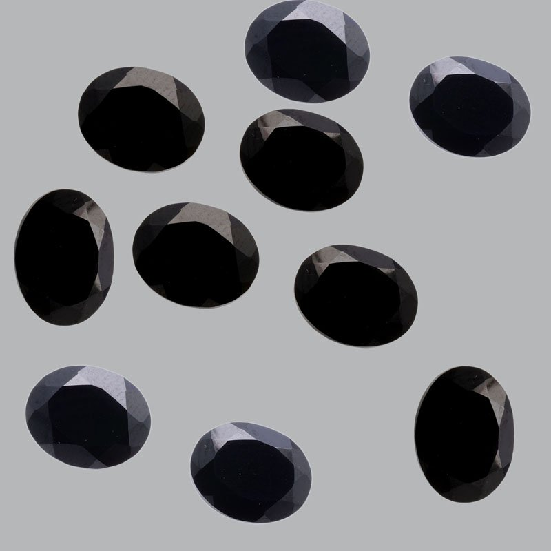 Certified Natural Black Spinel AAA Quality 10x8 mm Faceted Oval  5 pcs lot