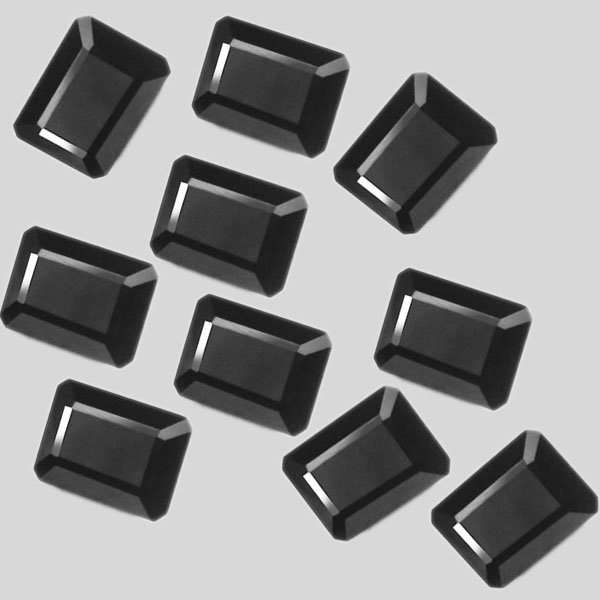 Certified Natural Black Spinel AAA Quality 6x4 mm Faceted Octagon  10 pcs lot