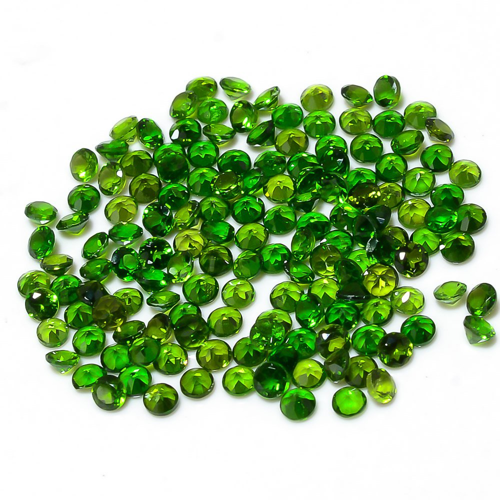 Certified Natural Chrome Diopside AAA Quality 1.25 mm Faceted Round 50 pcs lot