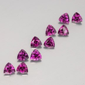 Certified Natural Rhodolite AAA Quality 5.5 mm Faceted Trillion 2 pcs pair