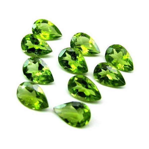 Certified Natural Peridot AAA Quality 7x5 mm Faceted pear 2 pcs pair