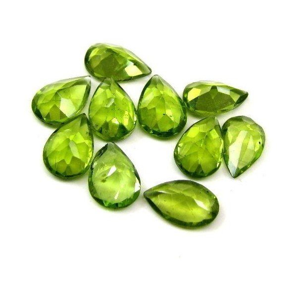 Certified Natural Peridot AAA Quality 7x5 mm Faceted pear 10 pcs lot