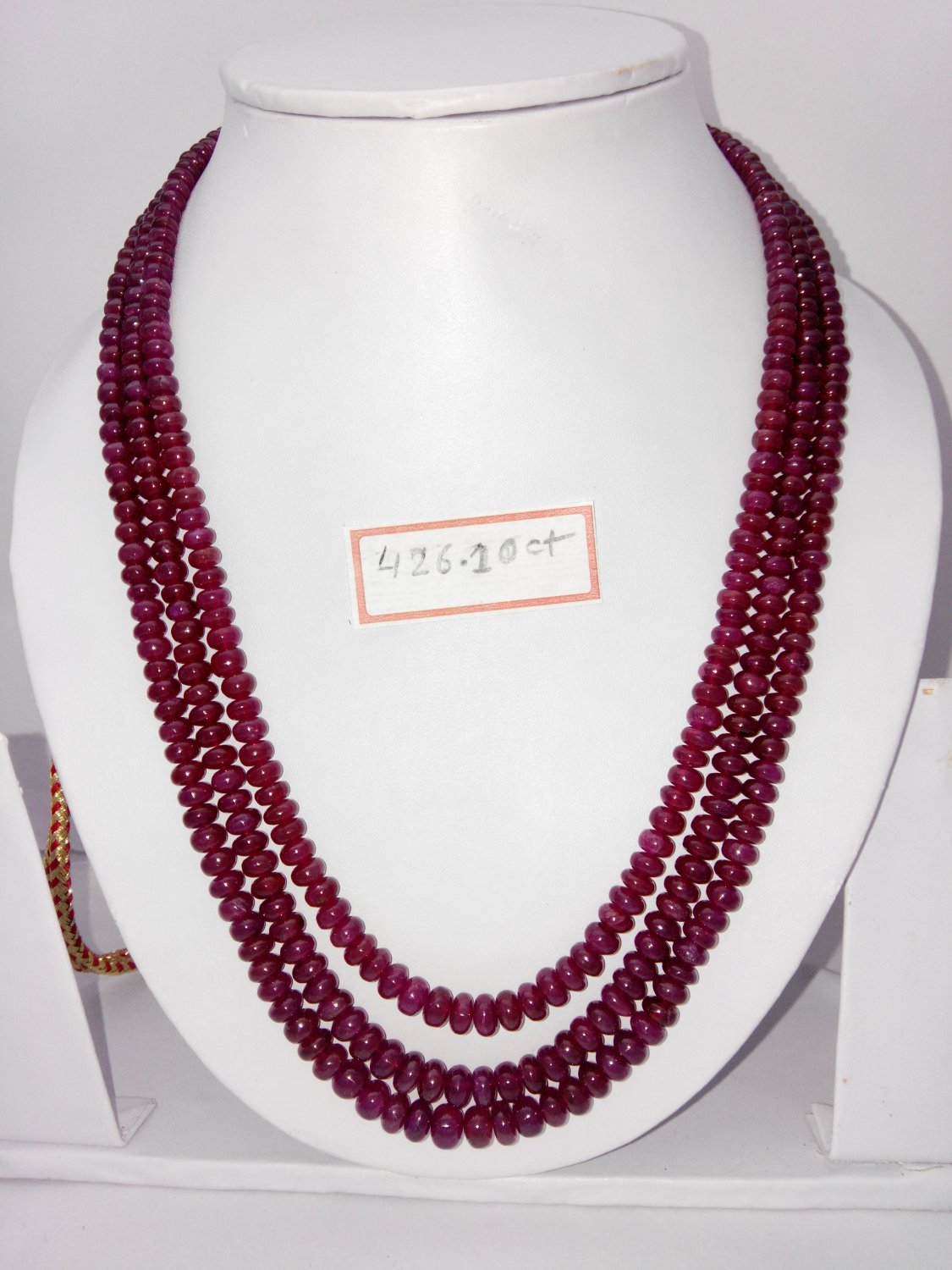 Certified Fissure Filled Ruby necklace of 426.10 cts Fancy Round Beads plane Polish