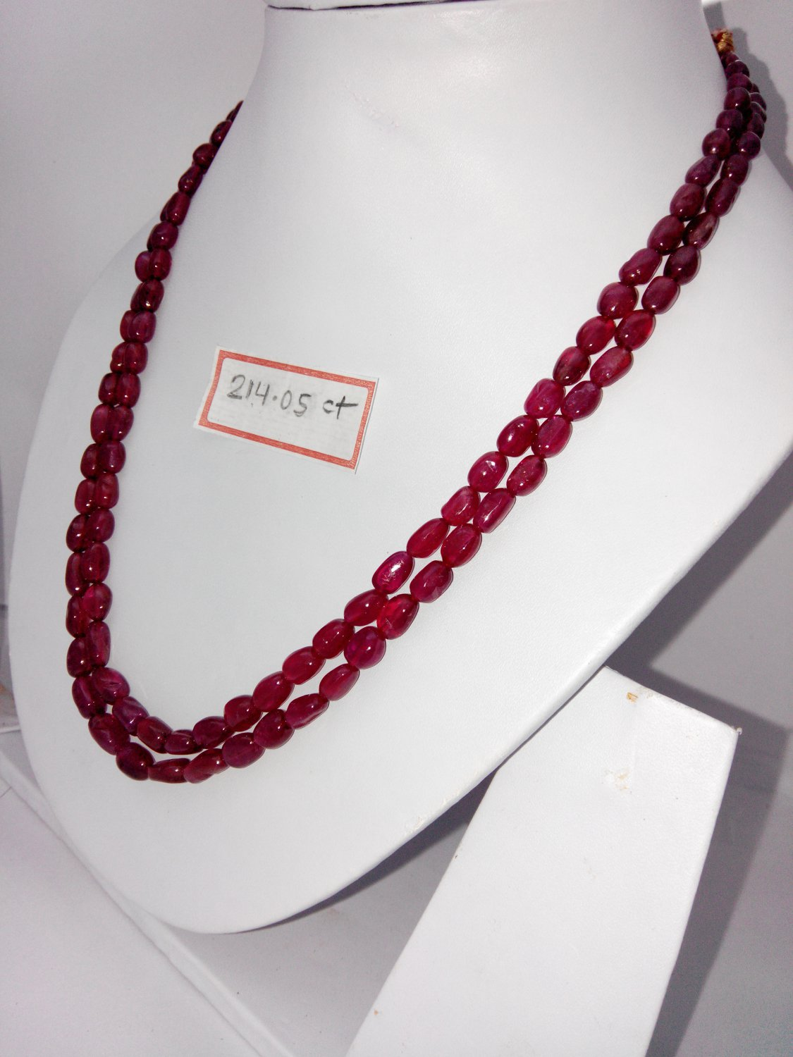 Certified Fissure Filled Ruby necklace of 241.05 cts Fancy Round Beads plane Polish
