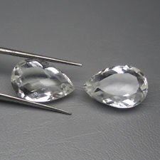 Certified Natural White topaz AAA Quality 10x7 mm Faceted Pear 2 pcs Pair