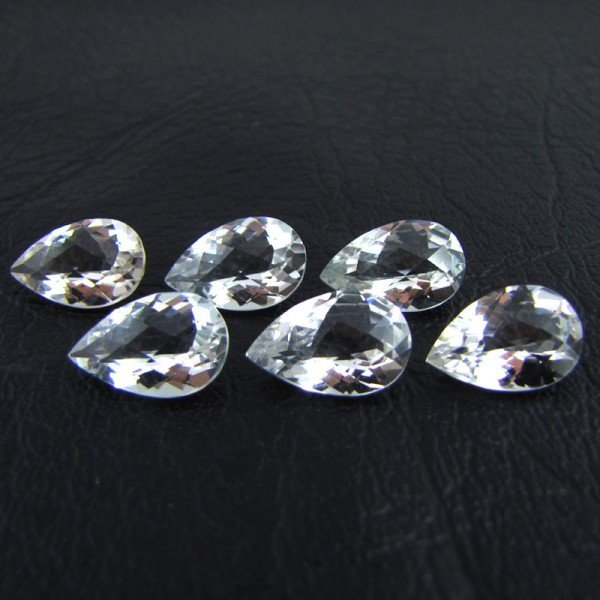 Certified Natural White topaz AAA Quality 10x7 mm Faceted Pear 5 pcs Lot