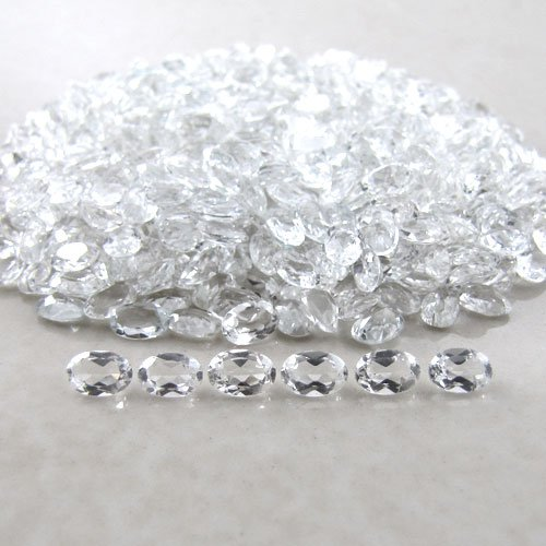 Natural White topaz AAA Quality 4x3 mm Faceted Oval 50 pcs Lot